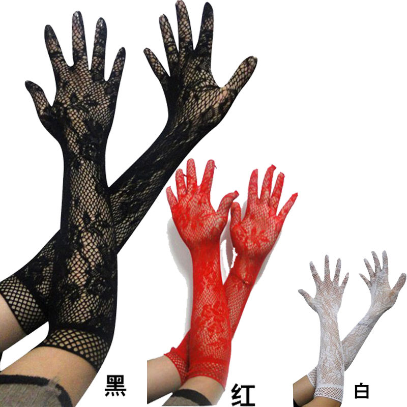 Sexy Lace Gloves 2017 Hot Sale Wholesale Women's Summer Sunscreen Thin Long UV Blocking Gloves Black Lace Gloves 3 Colors