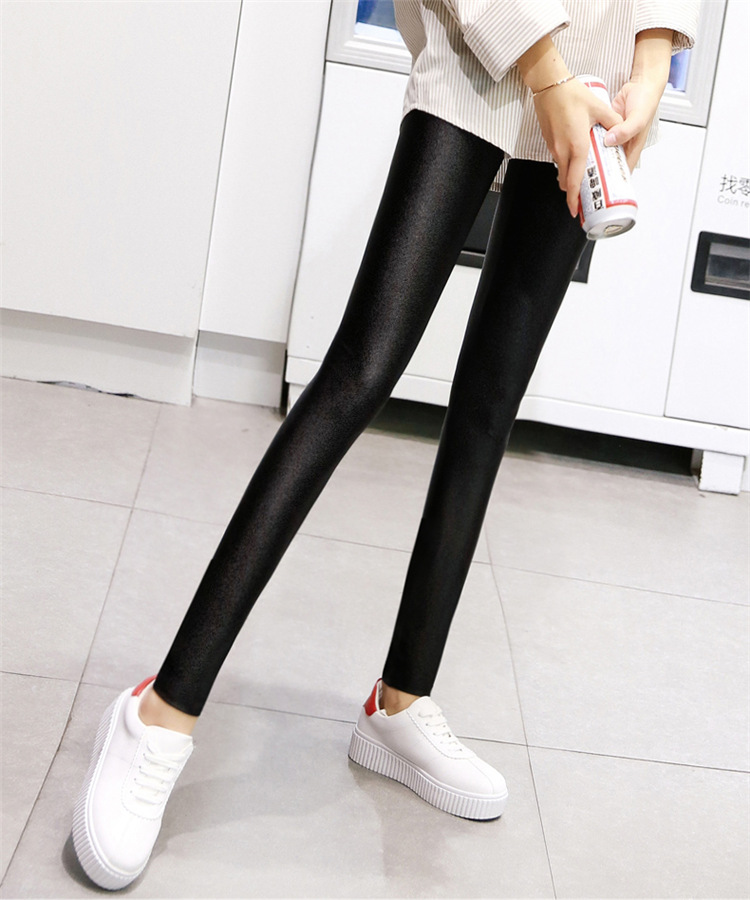 f763991ece346 Women glossy shiny black leggings solid trousers high elastic casual ...