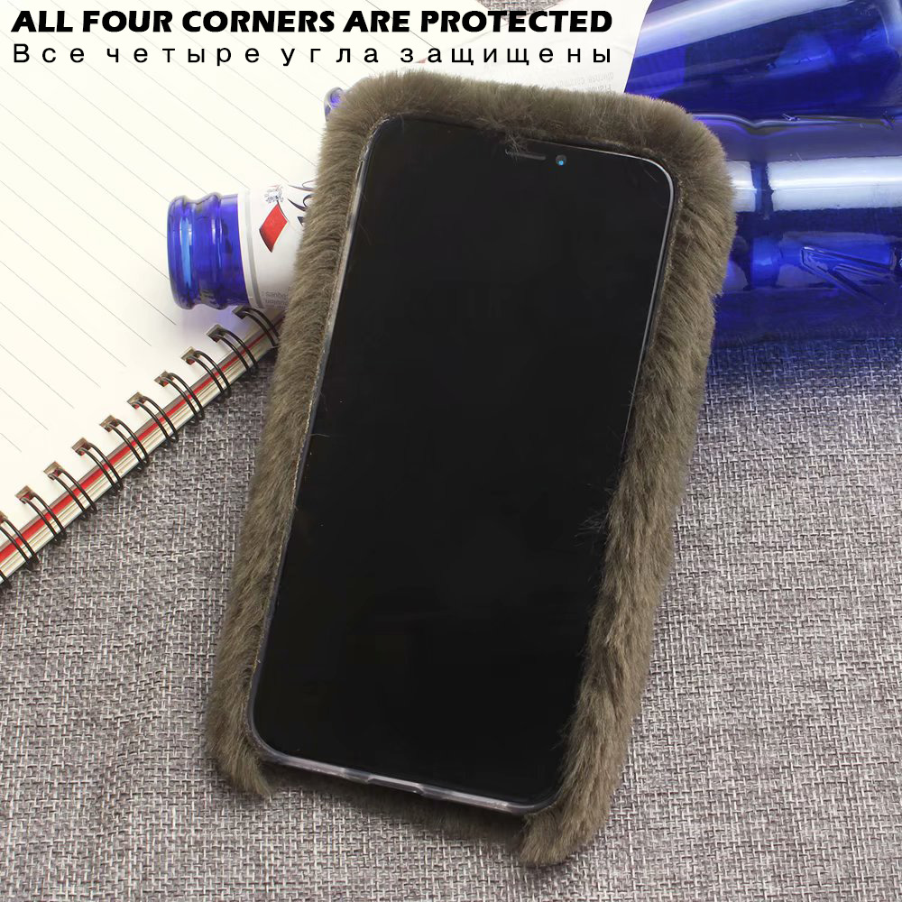 KIP61432_4_For iPhone 7 8 Hairy Warm Winter Bling Rhinestone Plush Phone Cover for iPhone XS XR 5S SE 6S 7P 8 Plus Hand Warmer Soft Case