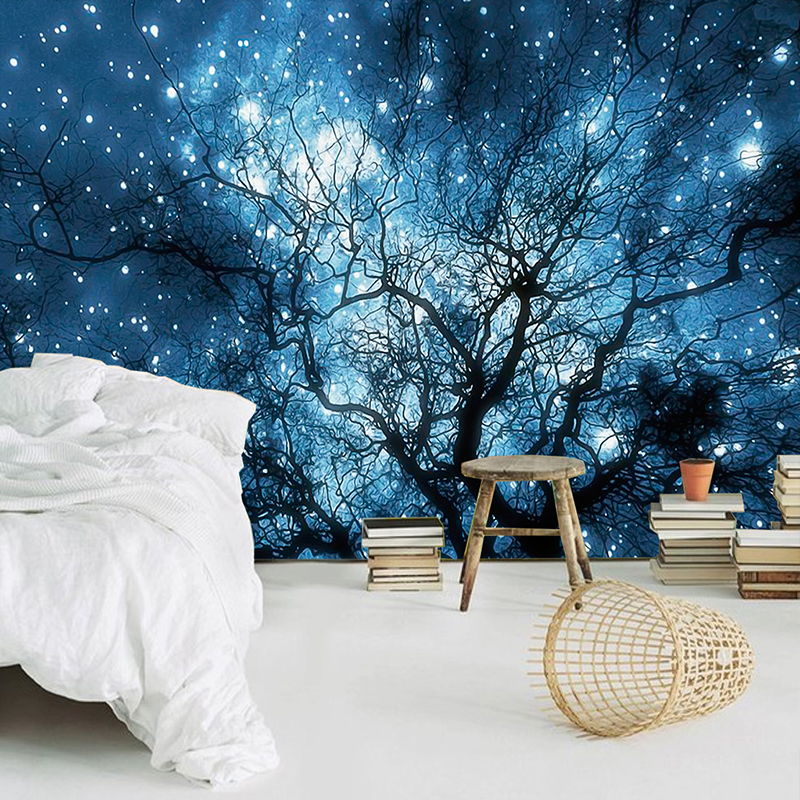 Custom 3D Photo Wallpaper Modern Abstract Art Blue Starry Sky Trees Living Room TV Background Wall Decoration Mural Home Decor custom any size 3d mural wallpaper european modern minimalist bedroom living room tv backdrop abstract trees 3d photo wallpaper