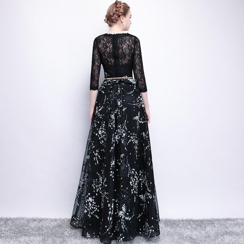 CEEWHY Robe de Soiree Longue 2018 Prom Kleider Spitze Schwarz ...