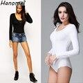 2017 camisas das mulheres Emagrecimento Tripulação Pescoço Manga Longa Virilha Aberta Bodysuit Básica Cor Sólida Camisa Corpo Das Mulheres C218