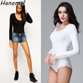 2017 women shirts Slimming Crew Neck Long Sleeve Tops Open Crotch Bodysuit Basic Solid Color Body Shirt Women Clothes C218