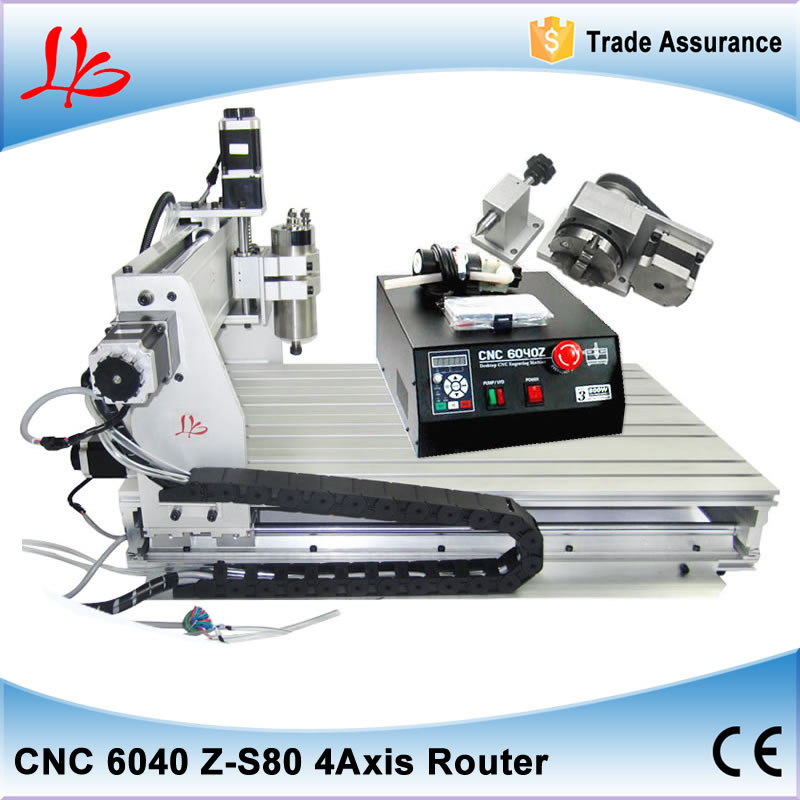 CNC 6040 Z-S80 Rotary Axis Metal Engraving Machine with 1.5KW Water Cooled Spindle 4 Axis CNC Milling Machine free shipping 4 axis cnc router 6040 z s 3d cnc stone sculpture machine with limit switch 800w water cooled spindle low cost
