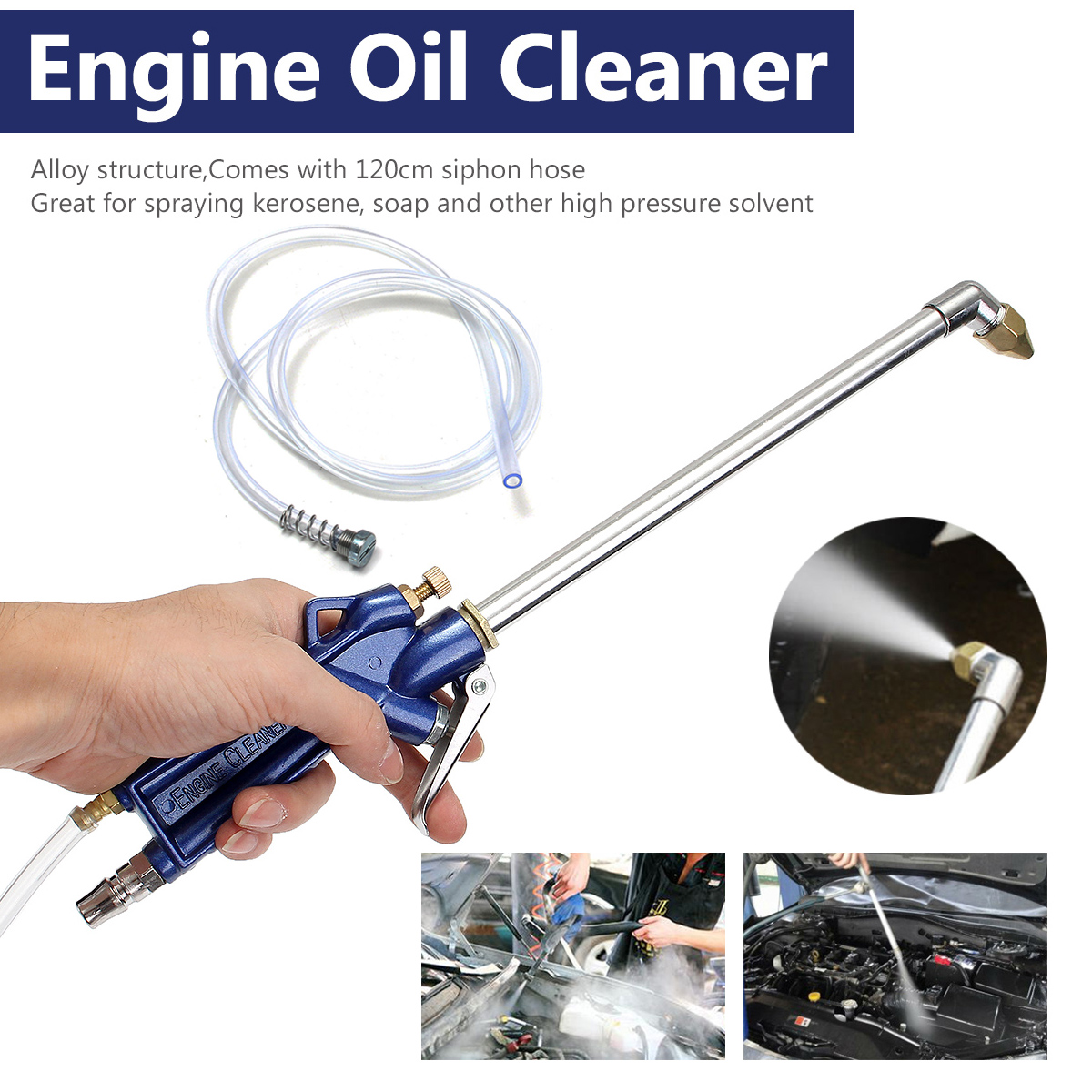 New 400mm Engine Oil Cleaner Tool Car Auto Water Cleaning Gun Pneumatic Tool with 120cm Hose Machinery Parts Alloy Engine Care new auto alternator 6bt engine c3972529 28v 70a