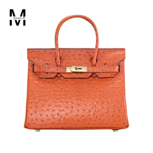 Luxury Ladies Ostrich Pattern Cowhide Genuine leather Lock Totes Bags Handbags For Women Famous Brand Designer High Quality Bags