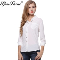Blouses 2018 Top Quality Summer Style Chiffon White Blouse For Women Shirts With Long Sleeves Turn
