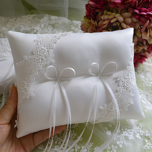 Unique Long Satin Bow Knot Bridal Wedding Ring Pillow Water Soluble Lace Cushion