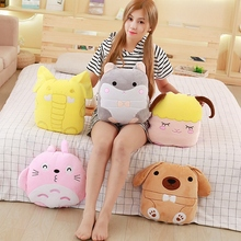 Plush cartoon folded dog Totoro sheep Elephant  air conditioning baby blanket 100*150cm stuffed gift 1pc
