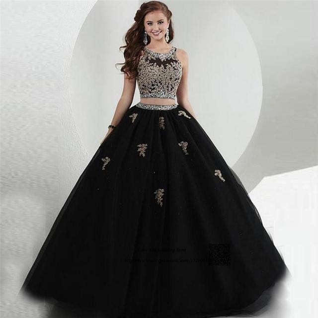 Preto Dois 2 Peça Vestidos Tulle Frisada de Cristal Masquerade Quinceanera Doce 16 Vestidos Vestidos de Baile vestidos de 15 años debutante