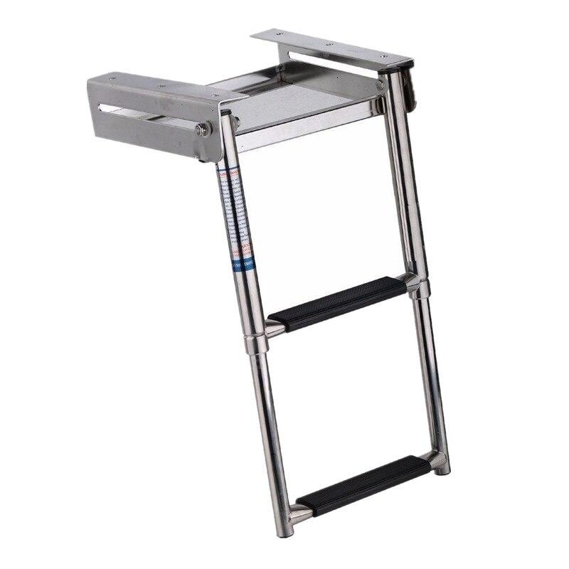 New 3-Step Under Platform Boat Boarding Ladder Stainless Steel Telescoping