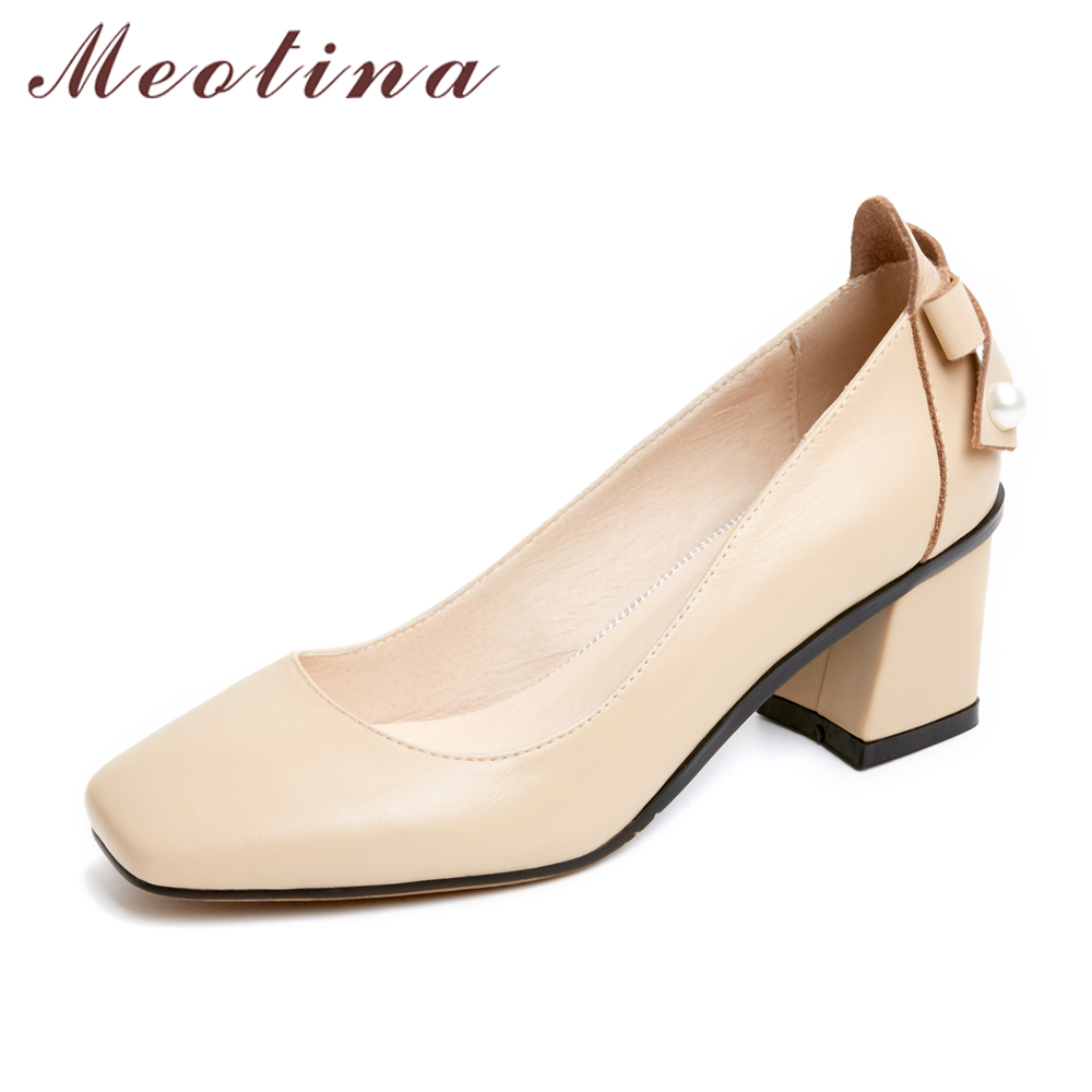 Meotina Genuine Leather Shoes Women Pumps High Heels Bow Square Toe Pumps Chunky High Heel Shoes Apricot Black Plus Size 9 41 42 2017 autumn fashion black genuine leather chunky heels round toe dress office career zip square heel shoes chaussure shofoo