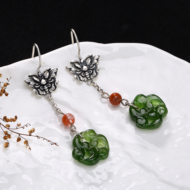 Pure Silver Ways Old Mosaic Hetian Jade Jade Plum Flower Butterfly Pendant Earrings Whol ...