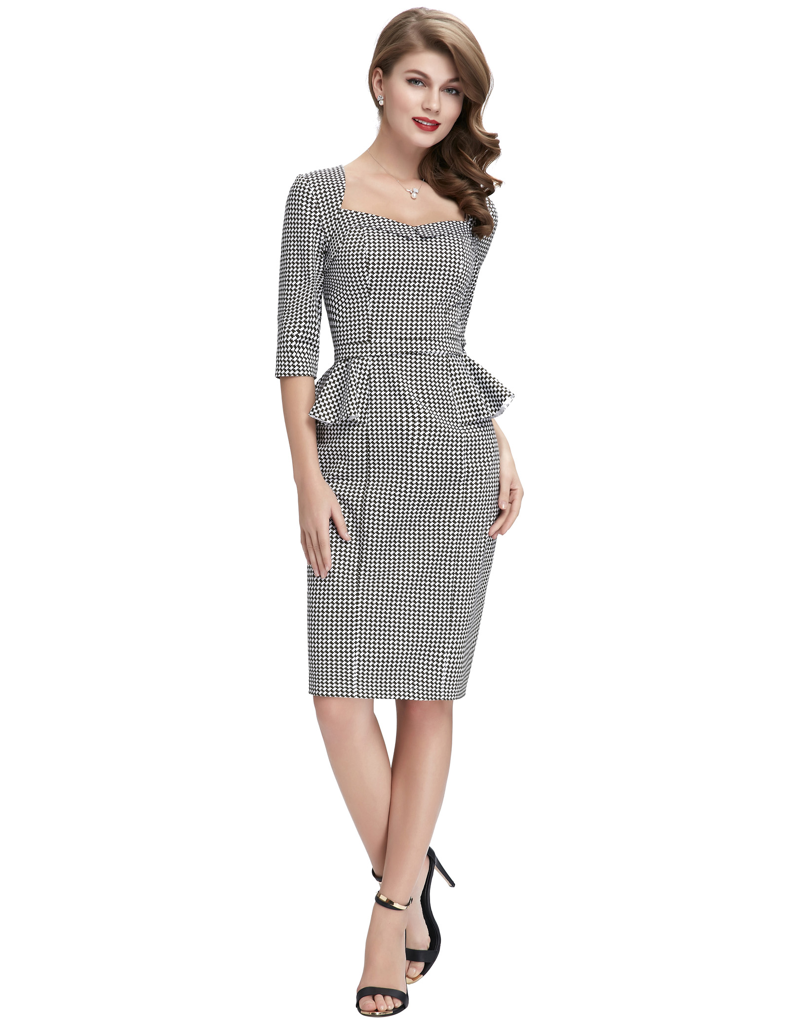 Vintage office work dress elegant women Half Sleeve Swallow Gird Pattern Cotton celebrity Bodycon Pencil slim warp Dress 8 Size