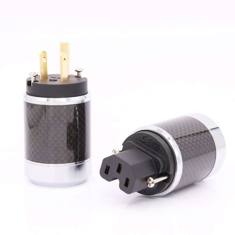 цена на Free shipping one pair Pure copper 24K Gold Plated US AC Power Plug Male IEC Female Carbon Fiber HIFI HI end