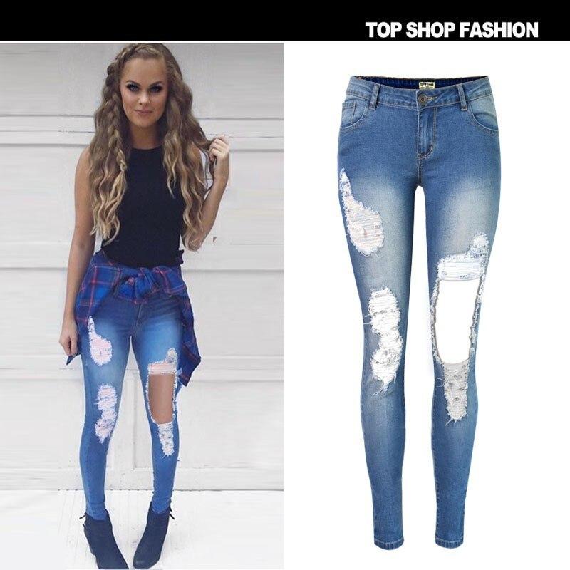 ФОТО 2017 European and American popular beggar worn low waist Slim stretch denim pants feet personality big hole big yards jeans