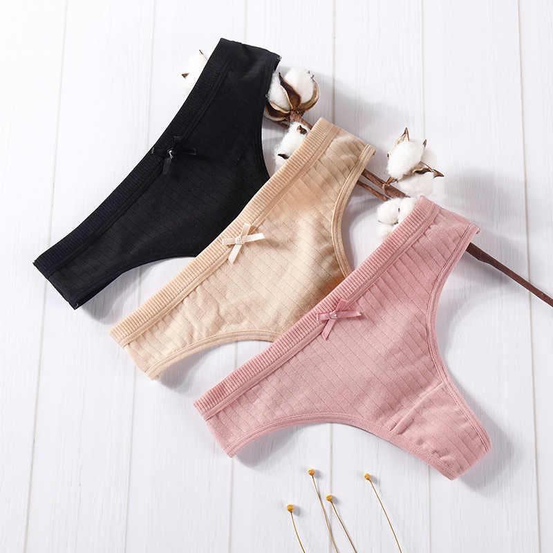 Осенне-зимние новые стильные женские сексуальные хлопковые стринги из мягкой ткани в полоску, женские стринги, бесшовные трусики с бантом, милое нижнее белье с бантом