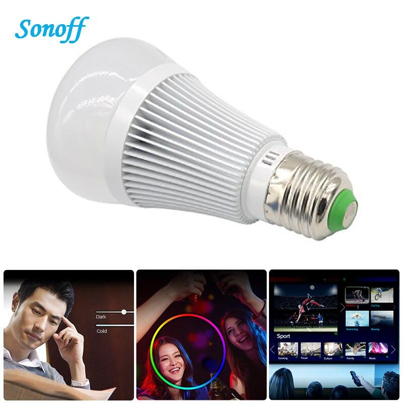 sonoff b1 smart wifi e27 led lamp rgb color light timer bulb wireless remote turn on off works. Black Bedroom Furniture Sets. Home Design Ideas