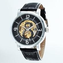 GOER марка Цифровые часы мужские часы Кожа водонепроницаемый Световой Скелет автоматические механические мужские Наручные часы