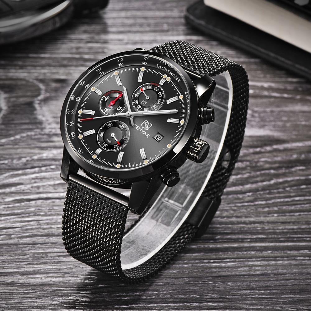 Image 5 - Benyar Men Watch Top Brand Luxury Male Mesh Quartz Chronograph Military Waterproof Wrist Watch Men Sport Clock relojes hombre-in Quartz Watches from Watches