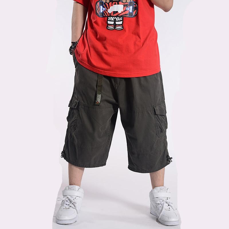 Summer Plus size 32-44 46 48 50 men cotton Calf-Length Pants male baggy hip hop Multiple pockets  Harem pants for 60-150 kg