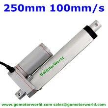 Meilleur fabricant dactionneur linéaire électrique 12V, 24V, 250mm, course 1600n, charge, 100 mm/s, actionneur de vitesse linéaire à taux élevé