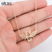 SMJEL Wild Animal Origami Gold Bee Pendant Necklace & Pendants Party Honey Bee Accessories Everyday Jewelry Ketting Gift(China)