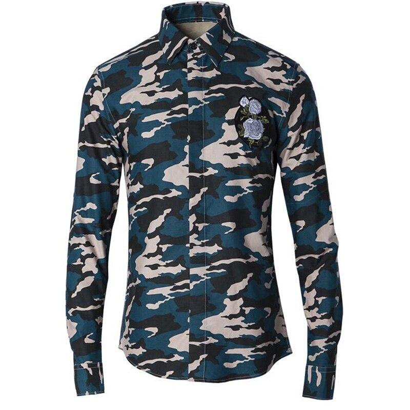 Camouflage fleur broderie hommes chemises Slim corps armée motif 100% coton chemise basique chemises décontracté respirant vêtements M-4XL