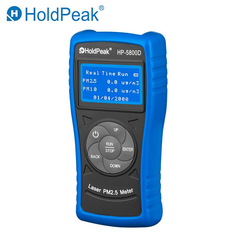 HoldPeak HP-5800D PM2.5/10 Detector Indoor Outdoor PM2.5 Air Quality Tester monitoring Haze Meter Backlight Environmental Tester pm2 5 detector home indoor laser haze monitoring air quality monitoring instrument