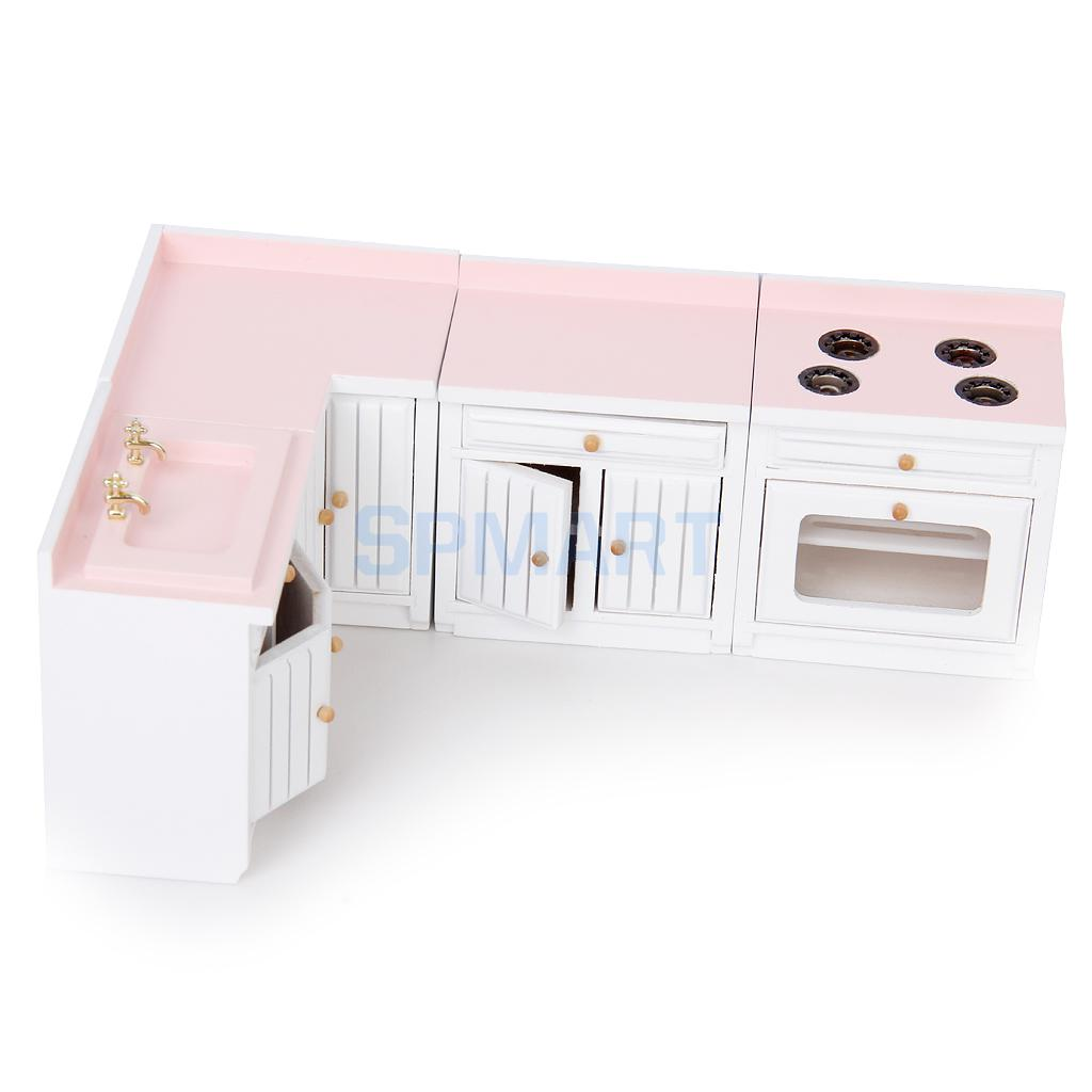 New 2014 Brand New 1/12 Dollhouse Miniature Furniture Wooden Kitchen Combination Cabinet Set