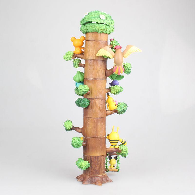 Anime Cute Pikachu Mokurah Celebi Bulbasaur 8pcs Figure in Forest Tree House Ver. Action Figure Collection Model Toys