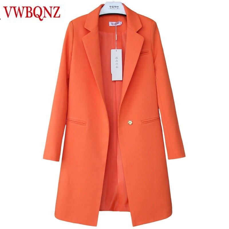 Vente chaude 2018 Printemps Automne Nouvelles Femmes Blazers Et Vestes Casual Longues Femmes Costumes Large Taille Solide Femelle Veste Plus taille 3XL