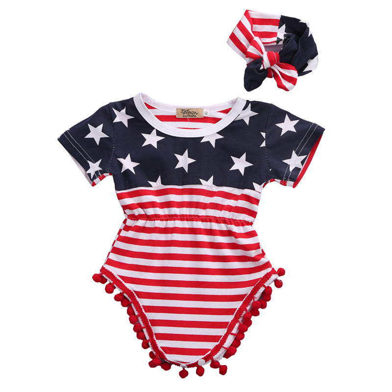 2pcs Newborn Baby Boy Girl USA Flag Pattern Tassel Balls Summer Short Sleeve Romper Jumpsuit +Headband Clothes Outfit Set 2017 floral baby romper newborn baby girl clothes ruffles sleeve bodysuit headband 2pcs outfit bebek giyim sunsuit 0 24m
