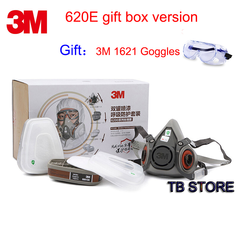 3M 620E Gift Package respirator mask brand new Upgraded version protective mask High end market Positioning respirator gas mask high quality respirator gas mask provide silica gel gray protective mask paint pesticides industrial safety mask