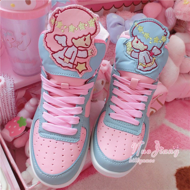Japanese Anime Cute Harajuku Lolita Girl Little Twin Star High Top Sport Shoes Student Casual Sneakers