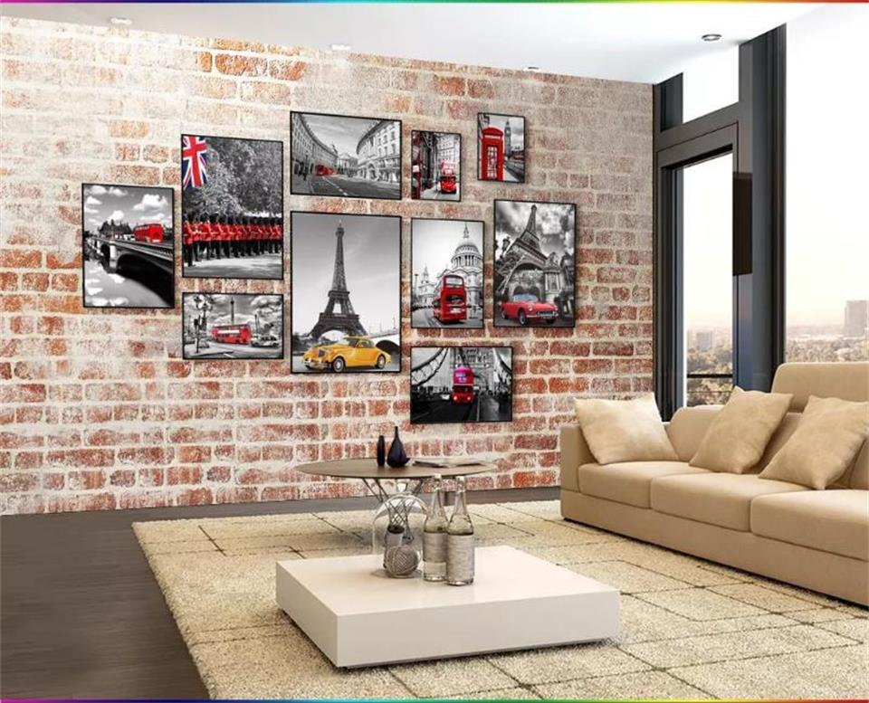 3d wallpaper custom photo wallpaper living room mural retro Paris photos brick wall painting TV background wallpaper for wall 3d free shipping hepburn classic black and white photos wallpaper old photos tv background wall mural wallpaper