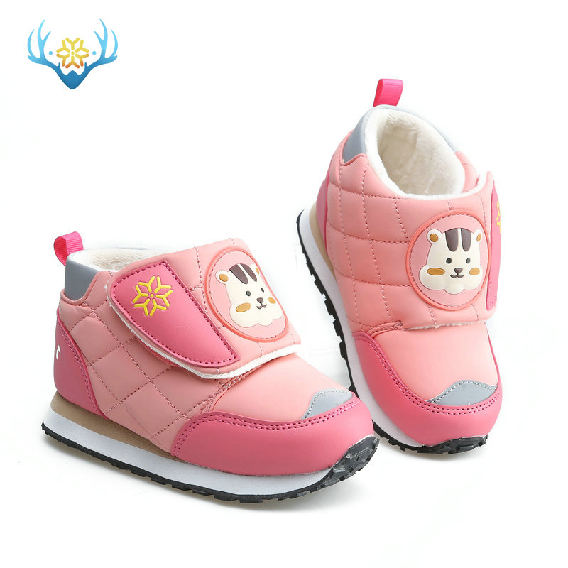 little cat design girls boots pink winter snow mini kid lovely shoes low-cut style hook and loop easy wear Reflective lape