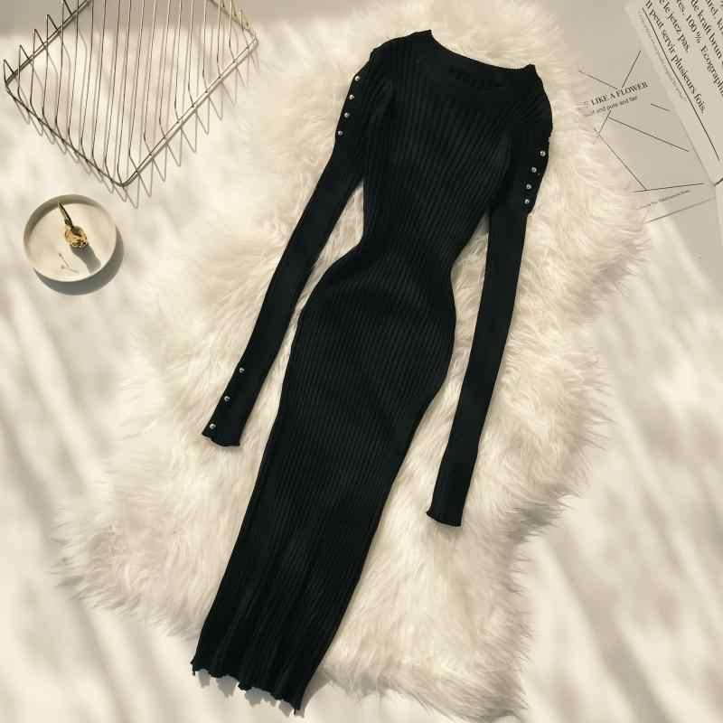 ALPHALMODA сексуальное трикотажное платье с рукавами и пуговицами осенне-зимнее женское платье в европейском стиле, новинка 2018 года, сексуальное платье знаменитостей