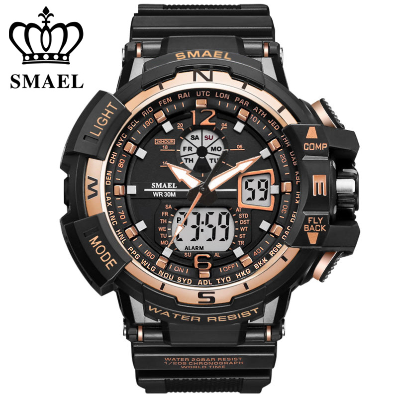 Brand SMAEL Men Sports Watches Dual Display Analog Clock Men LED Electronic Quartz Wristwatches Waterproof Military Watch