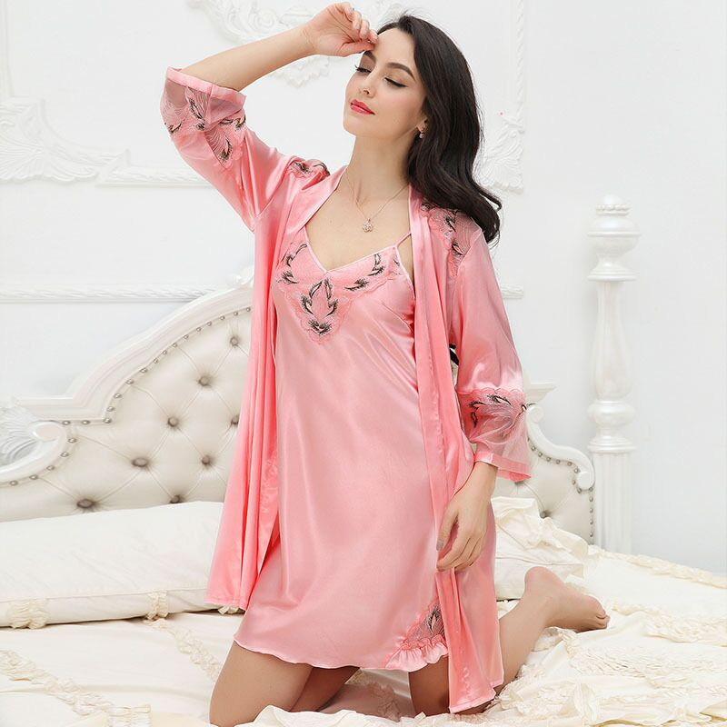 Women Robe & Gown Sets Sexy Lace Embroidery Pijama Ladies Nightwear Silk Bathrobe Night Dress Satin Sleepwear