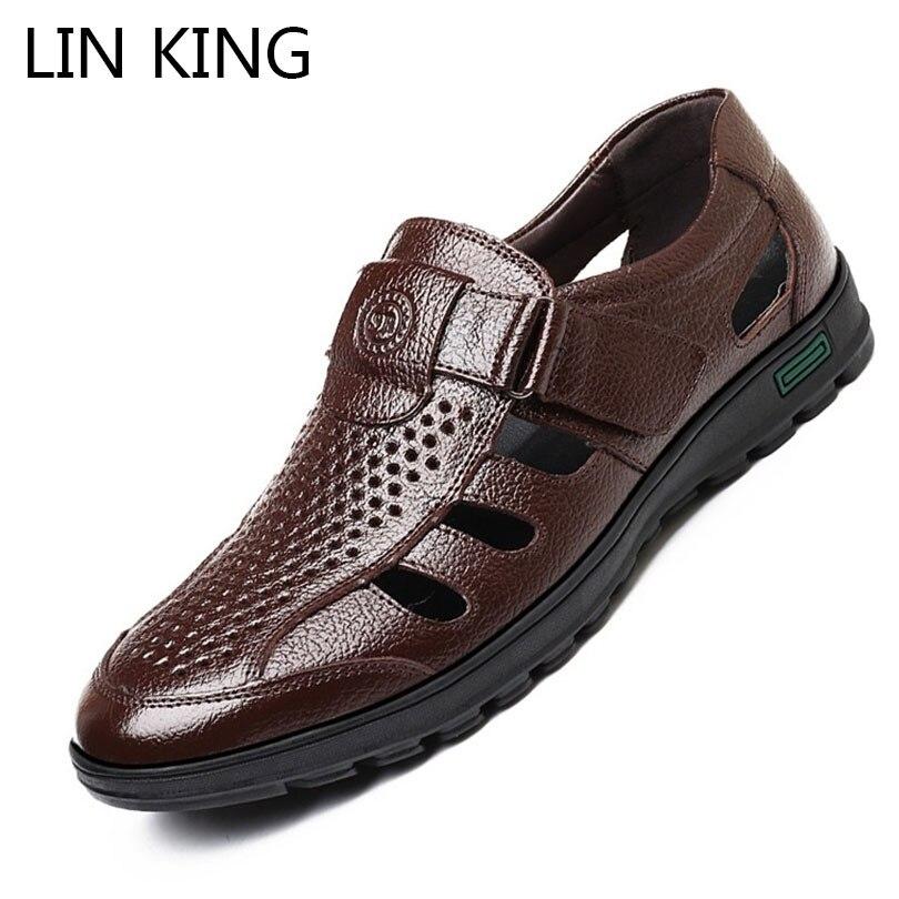 LIN KING/Новые мужские сандалии из искусственной кожи, дышащие мужские туфли для офиса с перфорацией, летние Лоферы без шнуровки, нескользящая пляжная обувь Сандалии      АлиЭкспресс