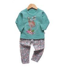 VIDMID/От 1 до 9 лет для девочек пижама, комплект одежды детские футболки и Штаны нижнее белье для девочек Наборы для ночное белье для девочек костюм комплект 4049 02