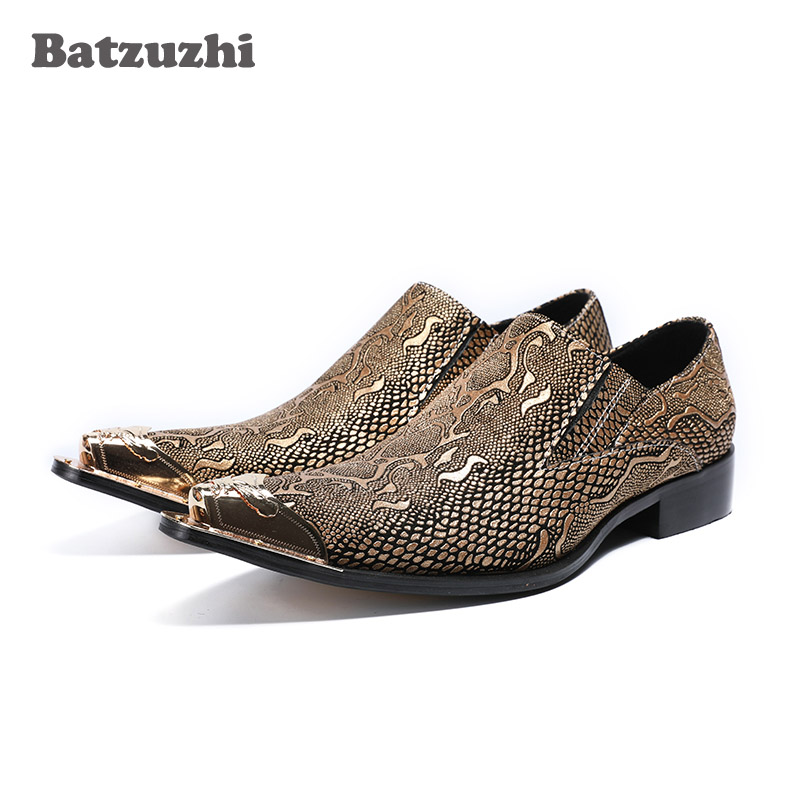 Batzuzhi Handmade Men Shoes Pointed Metal Toe Snake Pattern Leather Men Leather Dress Shoes Gold Oxfords Zapatos Hombre, US12 snake pattern men genuine leather shoes fashion men oxfords shoes increased british style goodster handmade men leather shoes