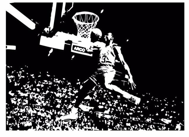 Michael Jordan Chicago Bulls Basketball Dunk Dorm Decor Silhouette WALL ART  STICKER VINYL DECAL ROOM STENCIL