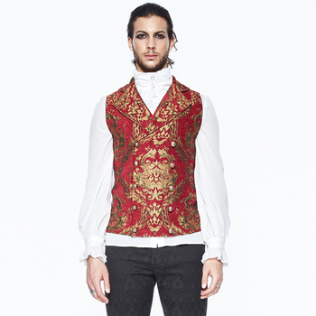 Gothic Embroidery Men's Print Vest Punk Sleeveless V-neck Vest Retro Court Style Fancy Pattern Vest Steampunk Banquet Vest фото