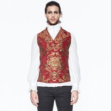 Gothic Embroidery Men's Print Vest Punk Sleeveless V-neck Vest Retro Court Style Fancy Pattern Vest Steampunk Banquet Vest