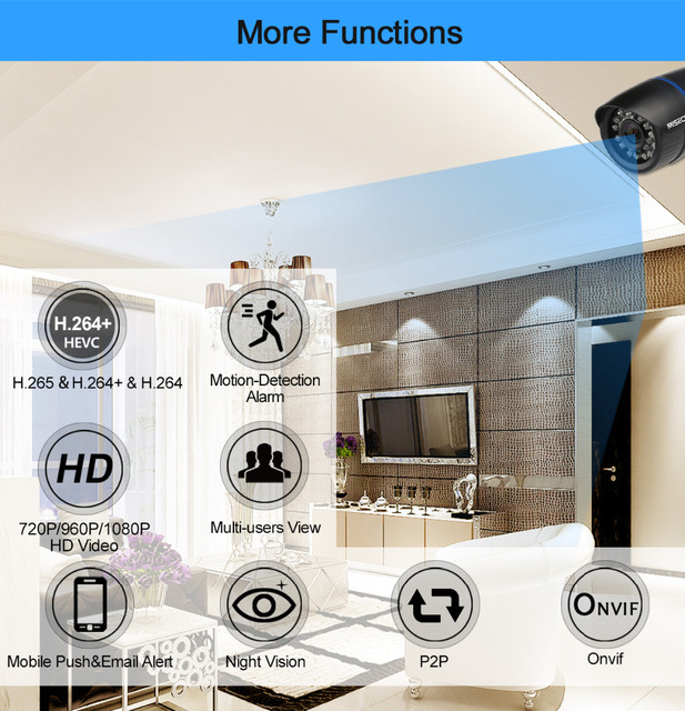 MISECU 2.8mm H.265 1080P H.264+ 720P ip WIFI IR camera 1280*720P P2P Wireless night vision 12V2A power Outdoor CCTV security