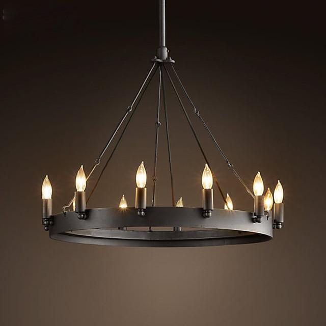 Top Garde Industrial Lamps Black Nordic Vintage Pendant Light Hanging Light  Round Pendant Lamp Iron Bar