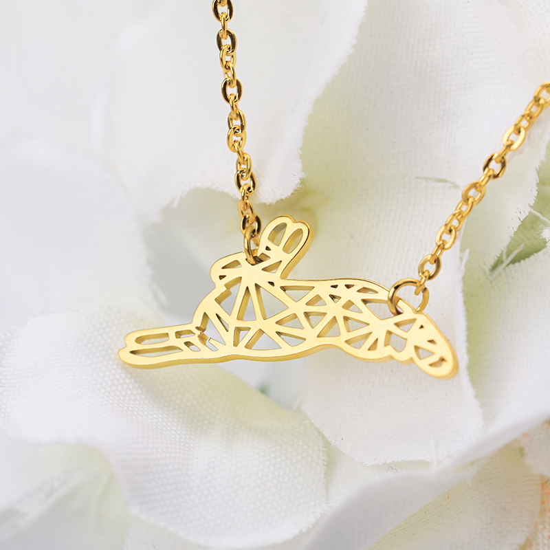 Lovely Animal Running Rabbit Necklace Collier Origami Charm Rabbit Necklaces Pendents Jewelry Accessories Woman Birthday Gift in Pendant Necklaces from Jewelry Accessories