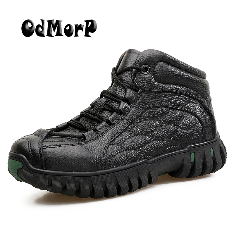 ODMOPR Men Leather Winter Shoes Keep Warm Snow Boots Ankle Boots Strong High Quality Rubber Outdoor Boot Walk Shoes Men